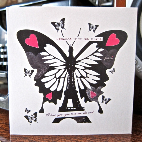 Personalised Butterfly Paris Valentines Card